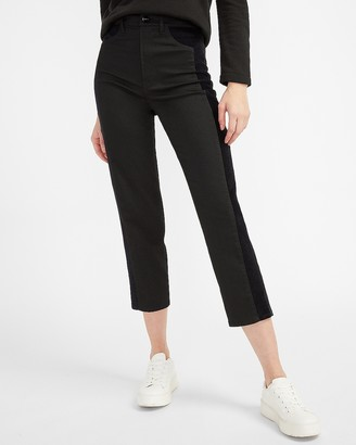 Express Super High Waisted Luxe Polished Black Velvet Pieced Straight Jeans