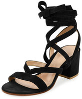 Gianvito Rossi Strappy Suede Ankle-Wrap Sandal, Black