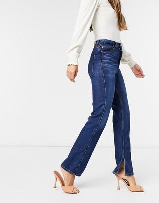 Stradivarius straight leg jeans with split hem in blue