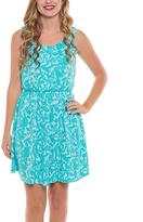 Aqua Damask Blouson Dress