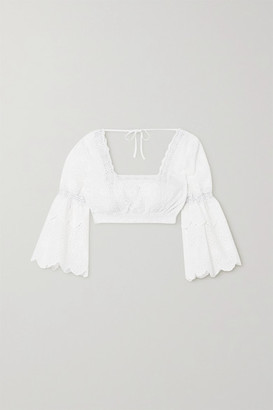 Charo Ruiz Ibiza Hadi Cropped Crocheted Lace-trimmed Broderie Anglaise Cotton-blend Top - White