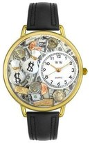 Whimsical Watches Women's G0610031 Unisex Gold Banker Black Leather And Goldtone Watch