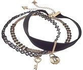 GUESS Choker Trio Metal and Cord with Key/Lock Necklace