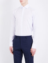 HUGO BOSS Pinstripe slim-fit cotton and linen-blend shirt