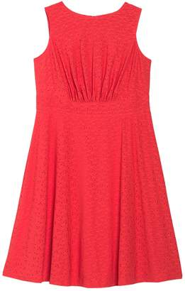 London Times Eyelet Sleeveless Midi Dress (Plus Size)