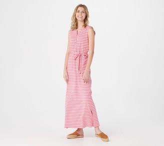 Denim & Co. Petite Striped Perfect Jersey Henley Maxi Dress