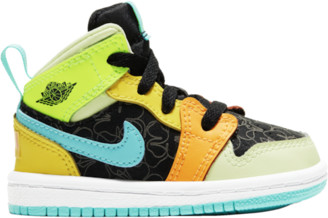 Jordan AJ 1 Mid SE Basketball Shoes - Black / Aurora Green Opti Yellow