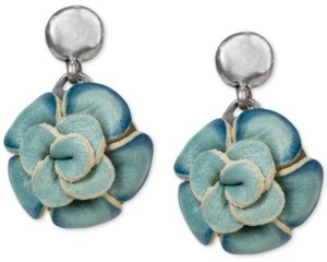 Patricia Nash Silver-Tone Leather Flower Drop Earrings