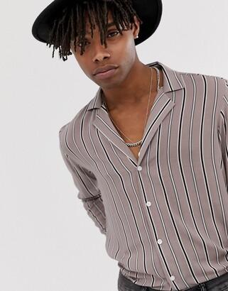 Asos DESIGN regular fit stripe shirt with deep revere collar