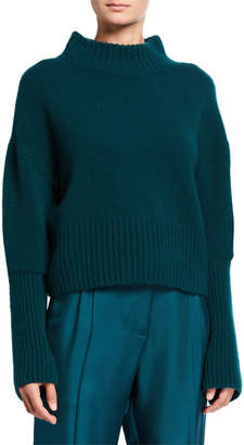 Sally LaPointe Airy Cashmere-Silk Mock-Kneck Sweater