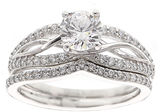 FINE JEWELRY DiamonArt Cubic Zirconia Sterling Silver Infinity Bridal Ring Set