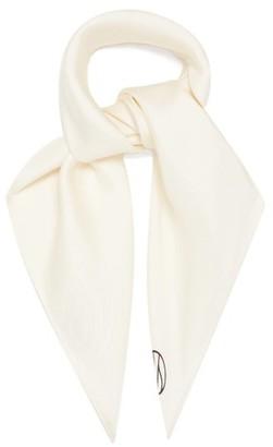 LESCARF Logo-print Silk-twill Scarf - White