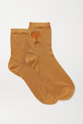 Maria La Rosa Aries Embroidered Silk-blend Socks - Brown