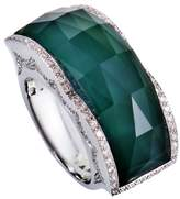 Stephen Webster 18K White Gold with Diamond, Green Agate and Quartz Band Ring Size 7.25