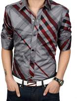 Liveinu Men's Casual Striped Checked Long Sleeve Button Down Dress Shirt Wine M