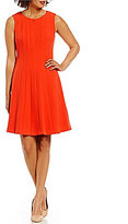 Adrianna Papell V-Neck Seamed Stretch Crepe Fit & Flare Dress
