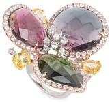 18K Multi Gold Gemstone & Diamond Cluster Ring CRR9758