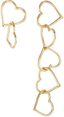 Numbering Heart chain drop earrings