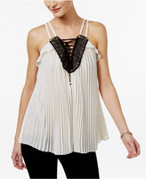 Thalia Sodi Pleated Lace-Up Top, Only at Macy's