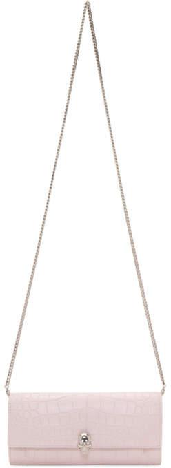 Alexander McQueen Pink Croc Skull Wallet Bag