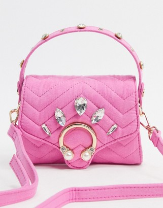 Skinnydip Pink structured mini bag in pink with embellishment