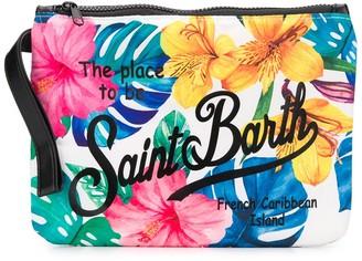 MC2 Saint Barth Floral-Print Slogan Clutch