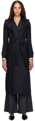 Harris Wharf London Navy Pressed Wool Trench Coat
