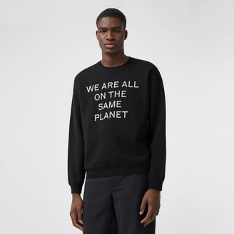 Burberry Slogan Intarsia Merino Wool Blend Sweater