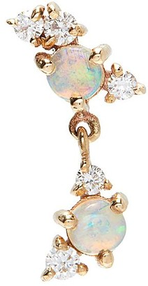 Sarah & Sebastian 'Chroma' Australian opal cartilage 10k gold diamond single earring