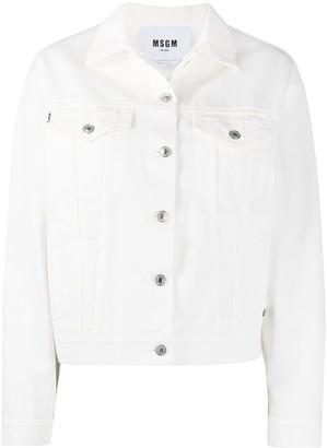 MSGM Logo-Print Buttoned Denim Jacket