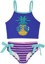 Sunshine Swing Girls' Bikini Bottoms - Blue & Pink Pineapple Stripe Bow Tankini - Toddler & Girls