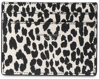Saint Laurent Animalier Print Leather Card Holder