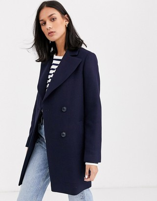 Gianni Feraud check oversized pea coat in wool blend-Navy