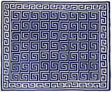 One Kings Lane Custom Greek Key Cotton Throw - Navy