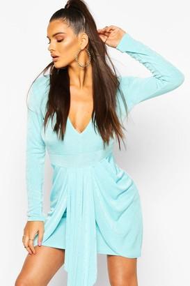 boohoo Textured Slinky Drape Mini Bodycon Dress