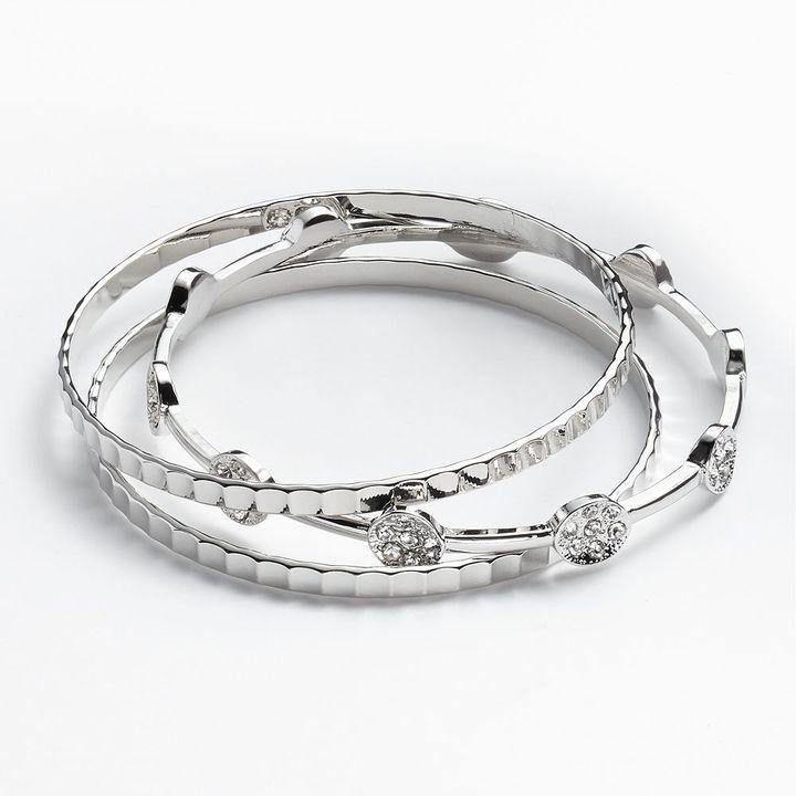 JLO by Jennifer Lopez silver tone simulated crystal textured bangle bracelet set