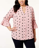 NY Collection Plus Size Printed Smocked-Sleeve Blouse