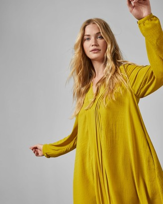 Ted Baker Pleated Front Long Sleeved Dress