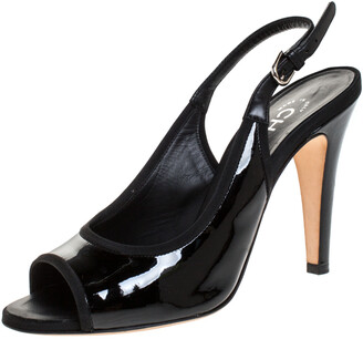 Chanel Black Patent Leather Open Toe Slingback Sandals Size 36.5