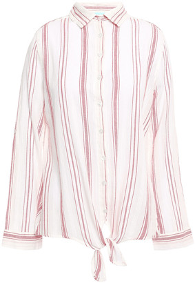 Melissa Odabash Inny Knotted Striped Cotton-gauze Shirt