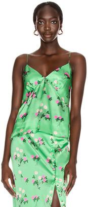 BERNADETTE June Silk Satin Cami Top in Floral Pink & Green | FWRD