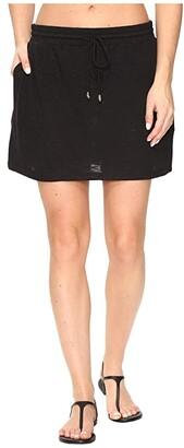 Tommy Bahama Slub Knit Drawstring Skirt Cover-Up (Black) Women's Skirt