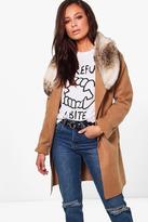 boohoo Eliza Faux Fur Collar Wool Look Coat camel
