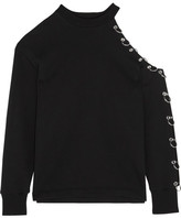 Christopher Kane Cutout Embellished Cotton-jersey Sweatshirt - Black