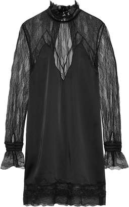 Jonathan Simkhai Open-back Satin-paneled Lace Mini Dress
