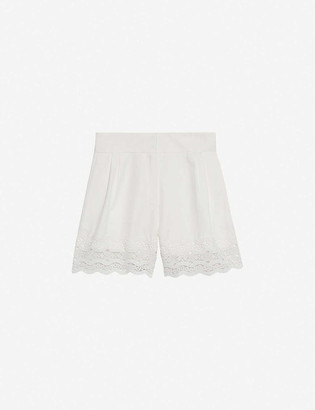 Sandro Oyan scalloped woven shorts
