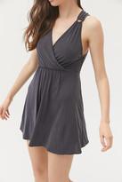 Urban Outfitters Downtown Cupro Cross-Back Mini Dress