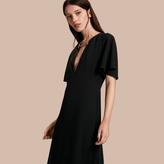 Burberry Flared-sleeve Chain Detail V-neck Technical Dress