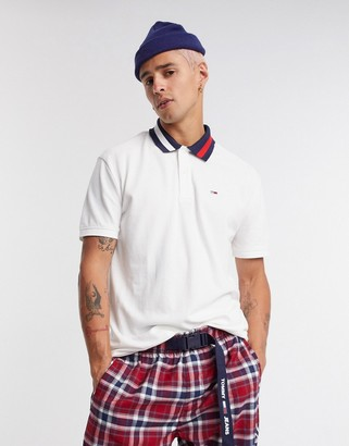 Tommy Jeans flag neck detail polo in white