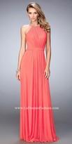 La Femme Gathered Sweetheart Halter Prom Dress